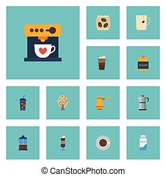 Flat Icons French Press, Moka Pot, Ibrik And Other Vector Elements. Set Of Coffee Flat Icons Symbols Also Includes Dairy, Maker, Press Objects.