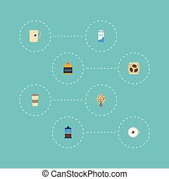 Flat Icons French Press, Paper Box, Sweetener And Other Vector Elements. Set Of Drink Flat Icons Symbols Also Includes Go, Dairy, Timber Objects.