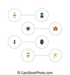 Flat Icons French Press, Saucer, Seed Pack And Other Vector Elements. Set Of Coffee Flat Icons Symbols Also Includes French, Pot, Cup Objects.