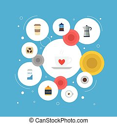 Flat Icons French Press, Sweetener, Cup And Other Vector Elements. Set Of Beverage Flat Icons Symbols Also Includes Saucer, Sugar, Pocket Objects.