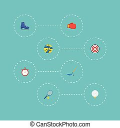 Flat Icons Golf, Puck, Boxing And Other Vector Elements. Set Of Fitness Flat Icons Symbols Also Includes Ice, Worn, Arrow Objects.
