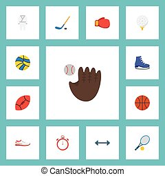 Flat Icons Golf, Rocket, Puck And Other Vector Elements. Set Of Sport Flat Icons Symbols Also Includes Rocket, Stopwatch, Hockey Objects.