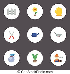 Flat Icons Grower, Wheelbarrow, Scissors And Other Vector Elements. Set Of Horticulture Flat Icons Symbols Also Includes Fruiter, Gardener, Bailer Objects.