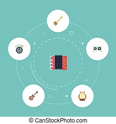 Flat Icons Harmonica, Knob, Banjo And Other Vector Elements. Set Of Studio Flat Icons Symbols Also Includes Knob, Musical, Accordion Objects.