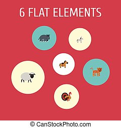 Flat Icons Hippopotamus, Jackass, Gobbler And Other Vector Elements. Set Of Zoo Flat Icons Symbols Also Includes Sheep, Mutton, Panther Objects.