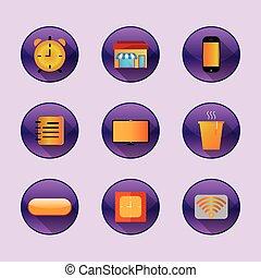 Flat icons home freelance