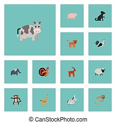 Flat Icons Jackass, Swine, Panther And Other Vector Elements. Set Of Animal Flat Icons Symbols Also Includes Jackass, Gazelle, Turkey Objects.