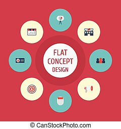 Flat Icons Journal, Megaphone, Audience And Other Vector Elements. Set Of Marketing Flat Icons Symbols Also Includes Bullhorn, Newspaper, People Objects.