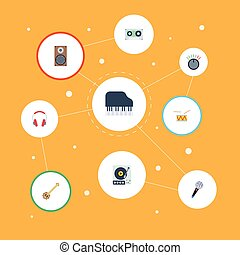 Flat Icons Karaoke, Tambourine, Banjo And Other Vector Elements. Set Of Music Flat Icons Symbols Also Includes Tambourine, Volume, Control Objects.