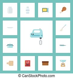 Flat Icons Kitchen Measurement, Skillet, Electric Stove And Other Vector Elements. Set Of Food Flat Icons Symbols Also Includes Cutting, Kitchen, Frying Objects.