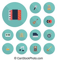 Flat Icons Knob, Banjo, Tambourine And Other Vector Elements. Set Of Audio Flat Icons Symbols Also Includes Box, String, Motion Objects.
