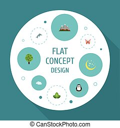 Flat Icons Landscape, Beauty Insect, Eco Energy Vector Elements. Set Of Eco Flat Icons Symbols Also Includes Dolphin, Tree, Night Objects.