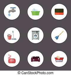 Flat Icons Laundromat, Besom, Wisp And Other Vector Elements. Set Of Hygiene Flat Icons Symbols Also Includes Wash, Faucet, Foam Objects.