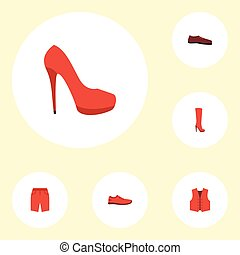 Flat Icons Man Footwear, Heeled Shoe, Waistcoat And Other Vector Elements. Set Of Dress Flat Icons Symbols Also Includes Shoe, Stiletto, Vest Objects.