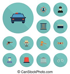 Flat Icons Manacles, Signal, Jail And Other Vector Elements. Set Of Criminal Flat Icons Symbols Also Includes Court, Scene, Signal Objects.