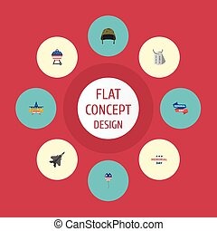 Flat Icons Memorial Day, Identity, Holiday And Other Vector Elements. Set Of Day Flat Icons Symbols Also Includes Identity, Aircraft, Plane Objects.