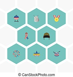 Flat Icons Memorial Day, Musical Instrument, Medallion And Other Vector Elements. Set Of Day Flat Icons Symbols Also Includes Medal, Award, Day Objects.