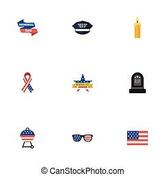 Flat Icons Memorial Day, Spectacles, Barbecue And Other Vector Elements. Set Of History Flat Icons Symbols Also Includes Banner, Rip, Military Objects.