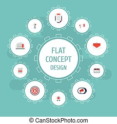 Flat Icons Message, Laptop, Megaphone And Other Vector Elements. Set Of Advertising Flat Icons Symbols Also Includes Megaphone, Client, Dartboard Objects.