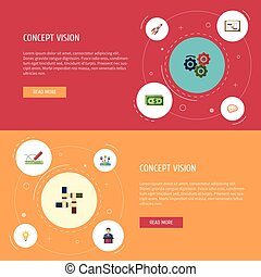 Flat Icons Mind, Administration, Rocket And Other Vector Elements. Set Of Projects Flat Icons Symbols Also Includes Mind, Businessman, Graph Objects.