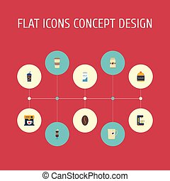Flat Icons Mocha, Beverage, Sweetener And Other Vector Elements. Set Of Beverage Flat Icons Symbols Also Includes Milk, Sugar, Pocket Objects.