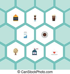 Flat Icons Mocha, Paper Box, Coffee Mill And Other Vector Elements. Set Of Beverage Flat Icons Symbols Also Includes Mill, Dairy, Grinder Objects.