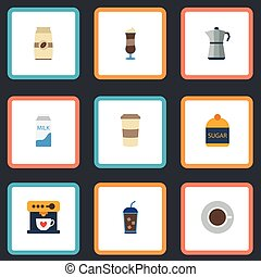 Flat Icons Mocha, Paper Box, Moka Pot And Other Vector Elements. Set Of Coffee Flat Icons Symbols Also Includes Mocha, Sugar, Coffeemaker Objects.