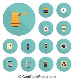 Flat Icons Mocha, Sweetener, Latte And Other Vector Elements. Set Of Coffee Flat Icons Symbols Also Includes Go, Maker, Coffeemaker Objects.