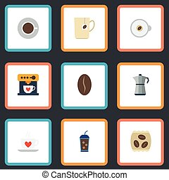 Flat Icons Moka Pot, Cappuccino, Arabica Bean And Other Vector Elements. Set Of Coffee Flat Icons Symbols Also Includes Iced, Espresso, Saucer Objects.