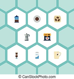 Flat Icons Moka Pot, Paper Box, Coffeemaker And Other Vector Elements. Set Of Coffee Flat Icons Symbols Also Includes Dispenser, Press, Percolator Objects.