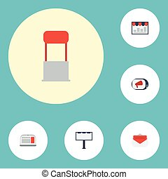 Flat Icons Monitoring, Advertising, Message And Other Vector Elements. Set Of Advertising Flat Icons Symbols Also Includes Chart, Billboard, Bullhorn Objects.
