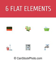 Flat Icons Mopping, Wisp, Faucet And Other Vector Elements. Set Of Cleaning Flat Icons Symbols Also Includes Water, Mopping, Gloves Objects.