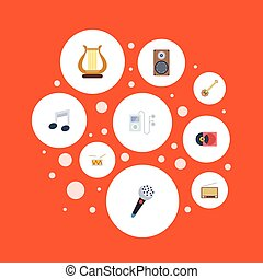 Flat Icons Mp3 Player, Banjo, Audio Box And Other Vector Elements. Set Of Audio Flat Icons Symbols Also Includes Microphone, Note, Disc Objects.