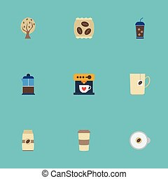 Flat Icons Mug, French Press, Seed Pack And Other Vector Elements. Set Of Drink Flat Icons Symbols Also Includes Pot, Beverage, Dispenser Objects.