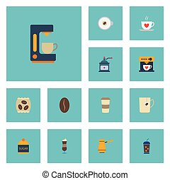 Flat Icons Mug, Plastic Cup, Ibrik And Other Vector Elements. Set Of Coffee Flat Icons Symbols Also Includes Espresso, Cezve, Instant Objects.
