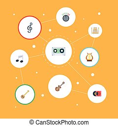 Flat Icons Musical Instrument, Acoustic, Banjo And Other Vector Elements. Set Of Melody Flat Icons Symbols Also Includes Tape, Symbol, Clef Objects.