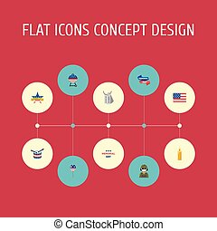 Flat Icons Musical Instrument, Identity, Holiday And Other Vector Elements. Set Of History Flat Icons Symbols Also Includes Instrument, Holiday, Tag Objects.