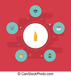 Flat Icons Musical Instrument, Medallion, History And Other Vector Elements. Set Of History Flat Icons Symbols Also Includes Medallion, Candle, Medal Objects.