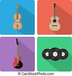 Flat icons musical instruments