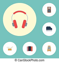 Flat Icons Octave Keyboard, Tambourine, Earphone And Other Vector Elements. Set Of Audio Flat Icons Symbols Also Includes Tambourine, Drum, Box Objects.