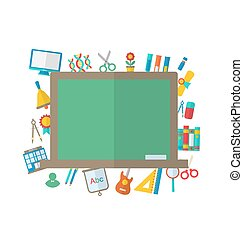 Flat Icons of Blackboard and other Elements
