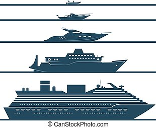 Flat icons of boats ranked by size.