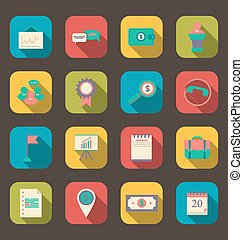 Flat icons of business, office and marketing items, long shadow style