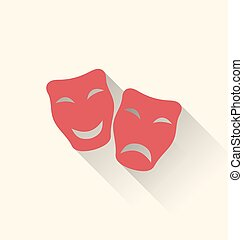 Flat icons of comedy and tragedy masks for Carnival or...