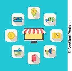 Flat Icons of E-commerce Shopping Symbols