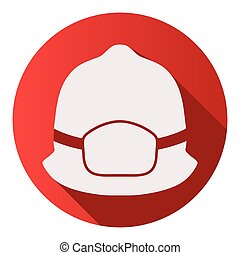 Flat icons of fireman helmet vector illustration - Flat ...