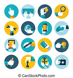 Modern flat icons vector collection of hand using a computer, mobile phone, digital tablet, camera, paid using money and credit card, repairs, write, give a gift, play chess, touching touchscreen, hand in business situations and in the design and marketing process.