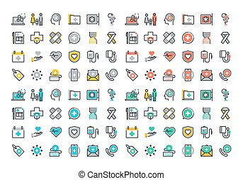Flat icons of healthcare services