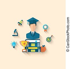 Flat icons of magister and objects for high school and...