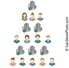 Flat icons of persons and buildings for infographic isolated...